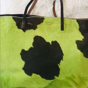 FENDI LIME GREEN & BROWN COWHOW HANDBAG